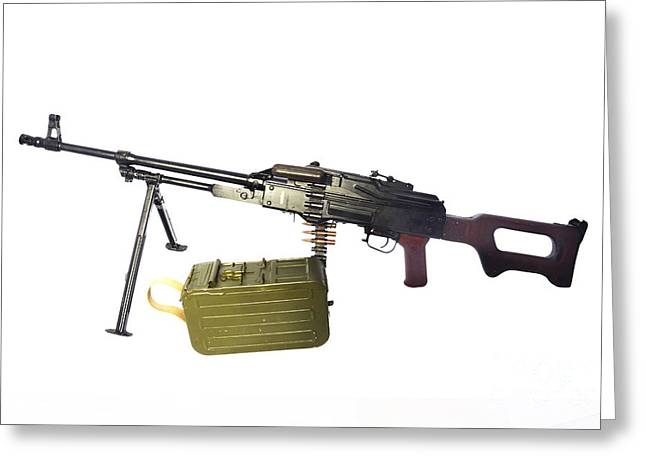 Pk Greeting Cards - Russian Pkm General-purpose Machine Gun Greeting Card by Andrew Chittock