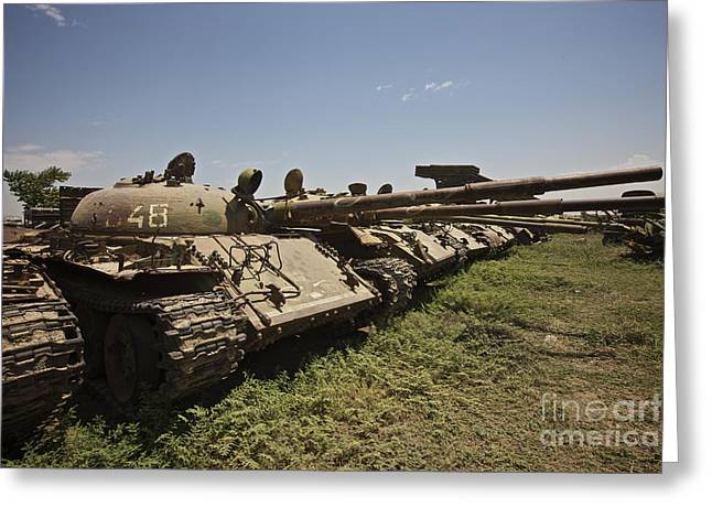 Battle Tanks Greeting Cards - Russian T-62 Main Battle Tanks Rest Greeting Card by Terry Moore