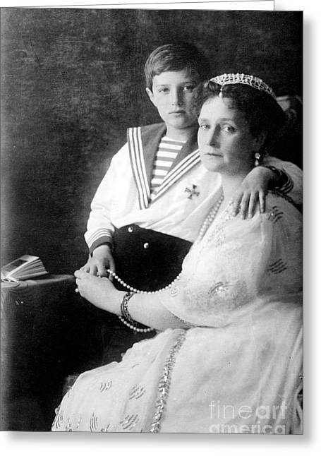 Heir Greeting Cards - Russian Tsarina Alexandra & Tsarevich Greeting Card by Photo Researchers