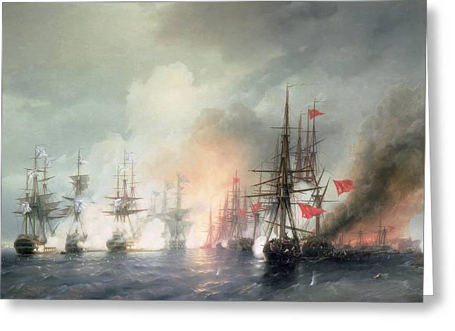 Black Russian Greeting Cards - Russian Turkish Sea Battle of Sinop Greeting Card by Ivan Konstantinovich Aivazovsky