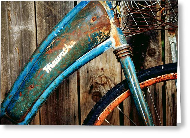 Blue Bike Greeting Cards - Rusted and Weathered Greeting Card by Toni Hopper