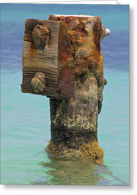 Reddish Flaking Iron Oxide Greeting Cards - Rusted Dock Pier of the Caribbean IV Greeting Card by David Letts