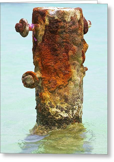 Reddish Flaking Iron Oxide Greeting Cards - Rusted Dock Pier of the Caribbean VI Greeting Card by David Letts