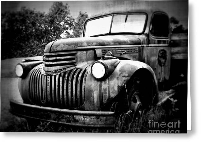 Old Truck Photography Greeting Cards - Rusted Flatbed Greeting Card by Perry Webster