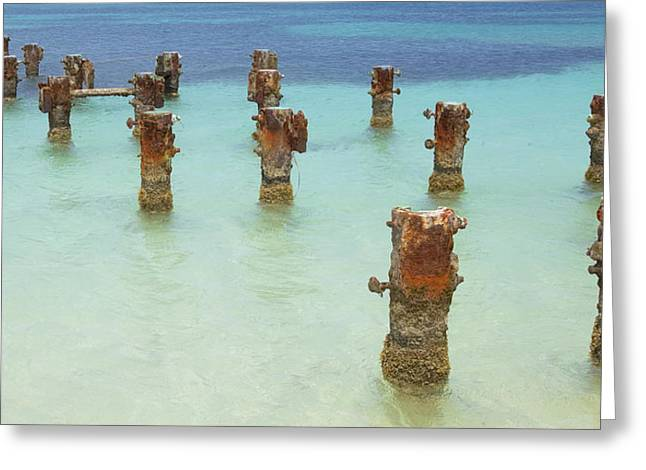 Reddish Flaking Iron Oxide Greeting Cards - Rusted Iron Pier Dock Greeting Card by David Letts
