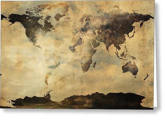 World Map Print Photographs Greeting Cards - Rusted Metal World Map Greeting Card by Stephen Walker