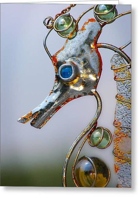 Wind Chimes Greeting Cards - Rusted Seahorse Greeting Card by Frank Mari