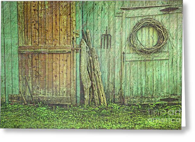 Hinged Greeting Cards - Rustic barn doors with grunge texture Greeting Card by Sandra Cunningham