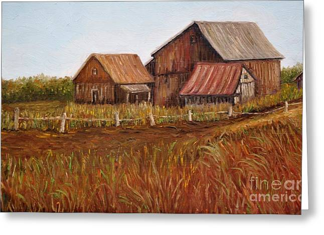 Rustic Barns Greeting Card by Reb Frost