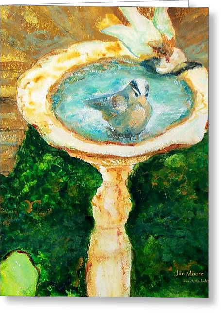 Rustic Birdbath Greeting Card by Jan Moore