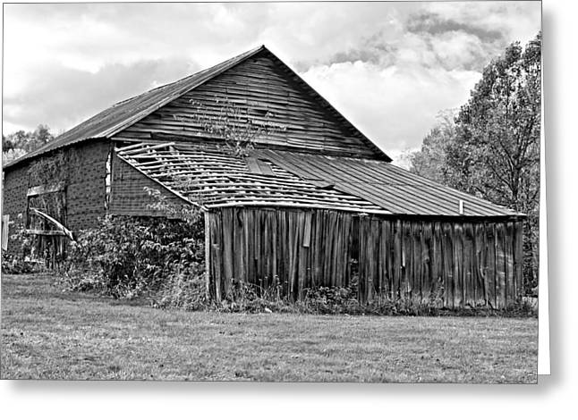 Red Roofed Barn Greeting Cards - Rustic Charm monochrome Greeting Card by Steve Harrington