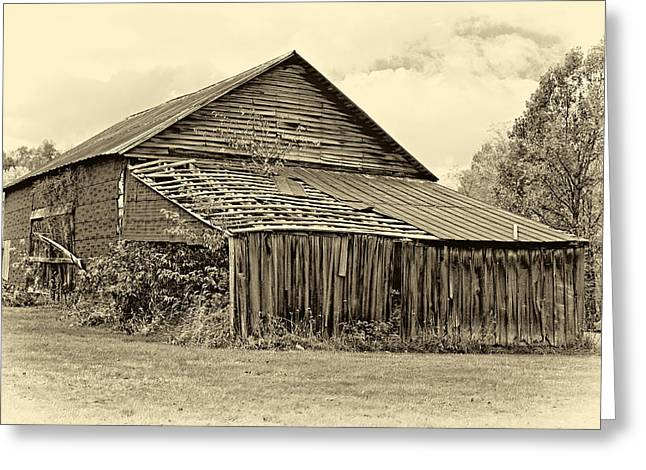Red Roofed Barn Greeting Cards - Rustic Charm sepia Greeting Card by Steve Harrington