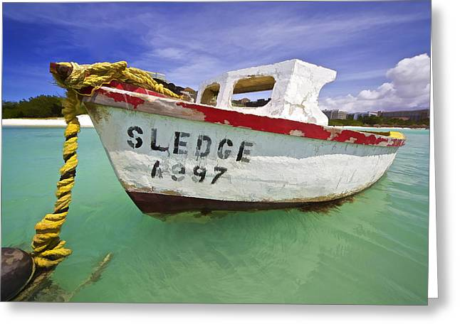 Sledge Greeting Cards - Rustic Fishing Boat of Aruba II Greeting Card by David Letts