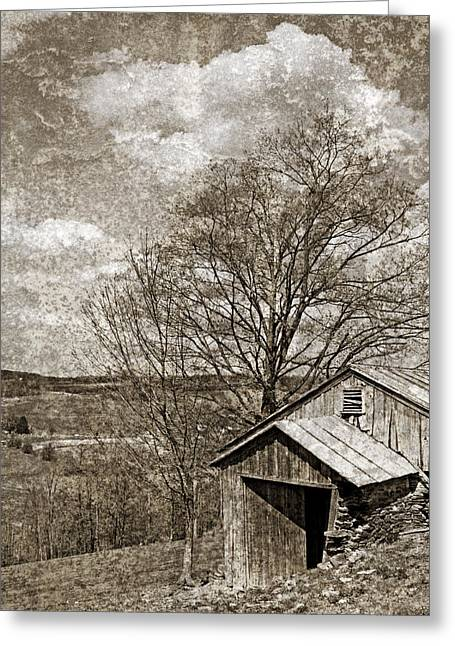 Tin Roof Greeting Cards - Rustic Hillside Barn Greeting Card by John Stephens