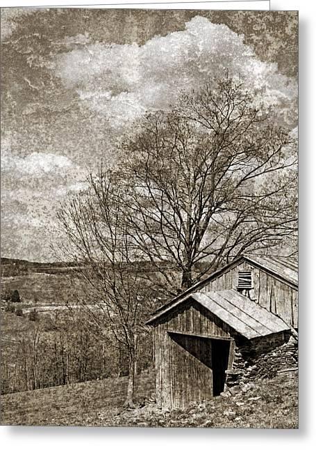 Rustic Hillside Barn Greeting Card by John Stephens