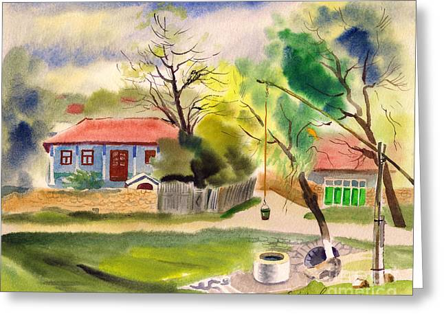 Rustic Landscape Greeting Card by Vasile Movileanu