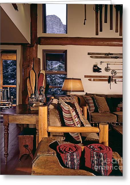 Coffee Table Couch Greeting Cards - Rustic Lodge Interior Greeting Card by Robert Pisano