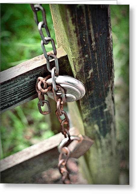 Nailed Shut Greeting Cards - Rustic Old Wooden Gate Secured with a Rusty Old Chain Greeting Card by Ethiriel  Photography