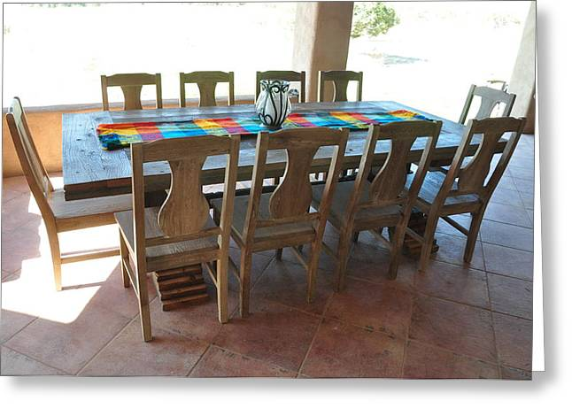 Style Sculptures Greeting Cards - Rustic Table for Outside Living Room Greeting Card by Thor Sigstedt