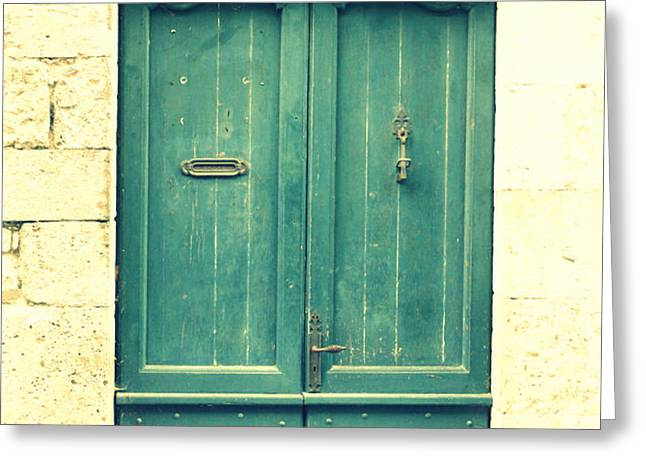 Rustic teal green door Greeting Card by Nomad Art And  Design