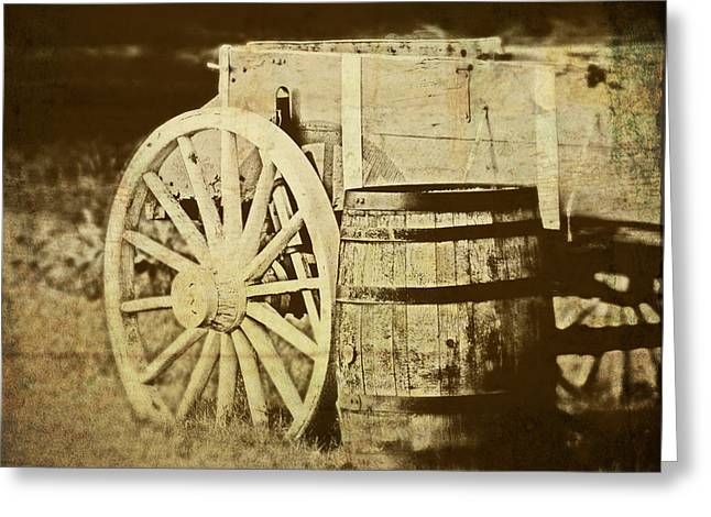 Cask Greeting Cards - Rustic Wagon and Barrel Greeting Card by Tom Mc Nemar
