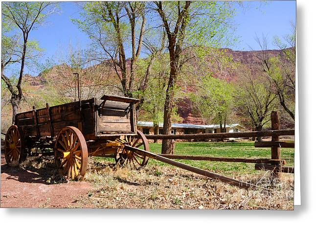 Cliff Lee Greeting Cards - Rustic Wagon at Historic Lonely Dell Ranch - Arizona Greeting Card by Gary Whitton