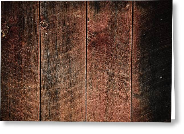 Backboards Greeting Cards - Rustic Wood Background Red and Black Greeting Card by Brandon Bourdages