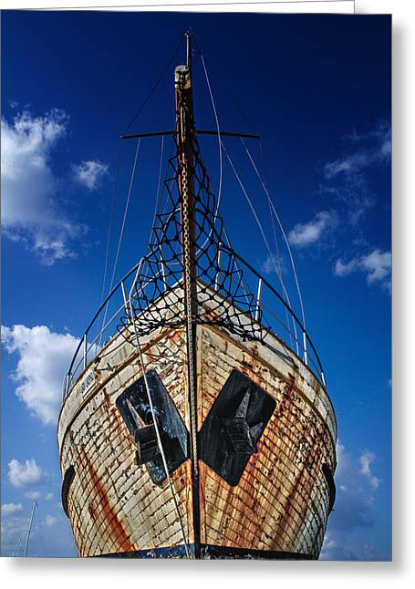 Wrecks Greeting Cards - Rusting boat Greeting Card by Stylianos Kleanthous