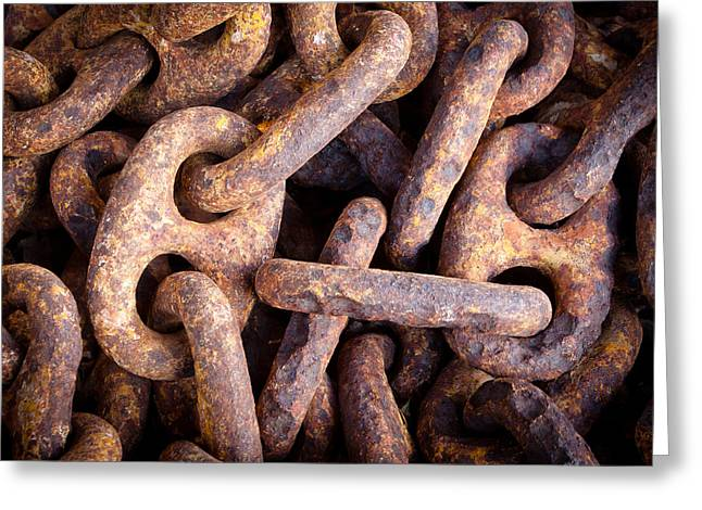 Pirate Ship Greeting Cards - Rusty Anchor Chains in Key West Greeting Card by Adam Pender