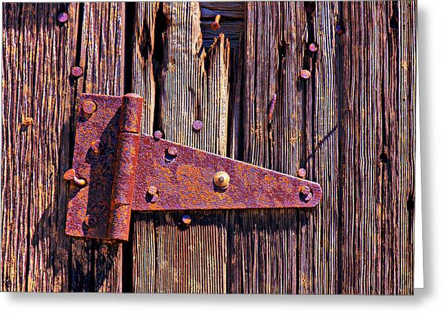 Rusty Nail Greeting Cards - Rusty barn door hinge  Greeting Card by Garry Gay