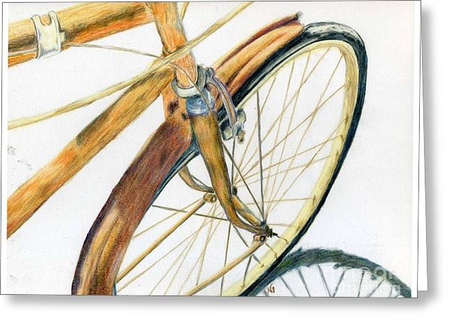 Rusty Beach Bike Greeting Card by Norma Gafford