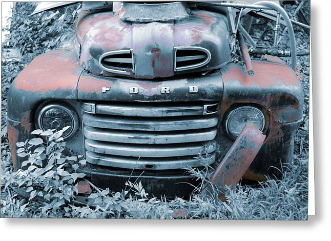 Best Sellers -  - Jame Hayes Greeting Cards - Rusty Blue Ford Greeting Card by Jame Hayes