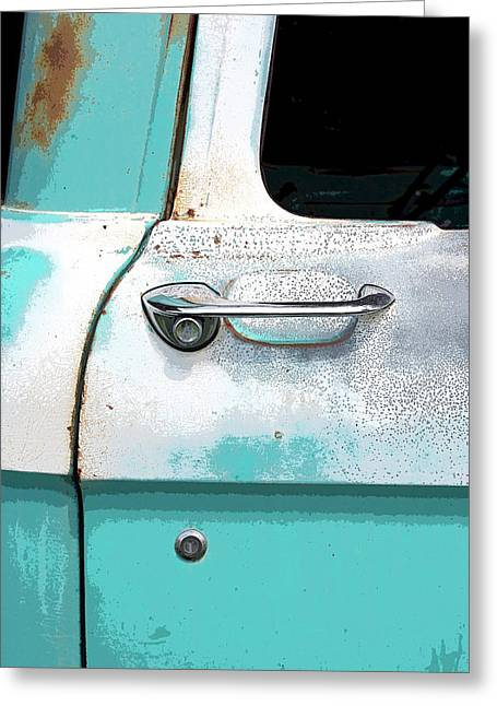 Rusted Cars Paintings Greeting Cards - Rusty Blue Greeting Card by Glennis Siverson