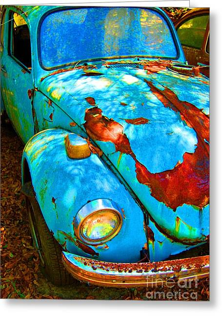 Vw Beetle Greeting Cards - Rusty Blue Greeting Card by Kendra Longfellow