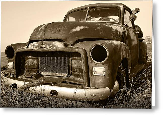Old Relics Greeting Cards - Rusty But Trusty Old GMC Pickup Greeting Card by Gordon Dean II