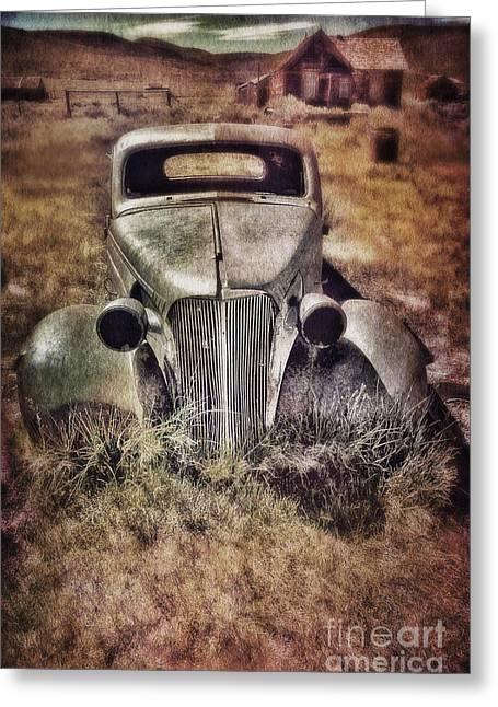 Haunted Shack Greeting Cards - Rusty Car  Greeting Card by Jill Battaglia