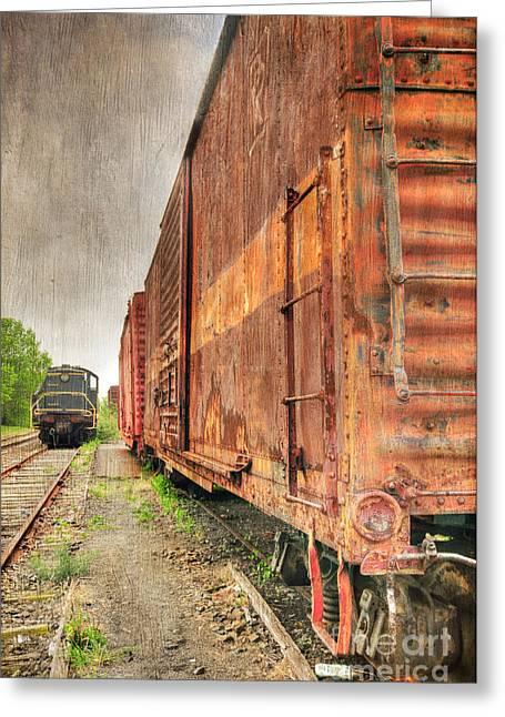 Journeyman Greeting Cards - Rusty Freight Cars Greeting Card by Paul Ward