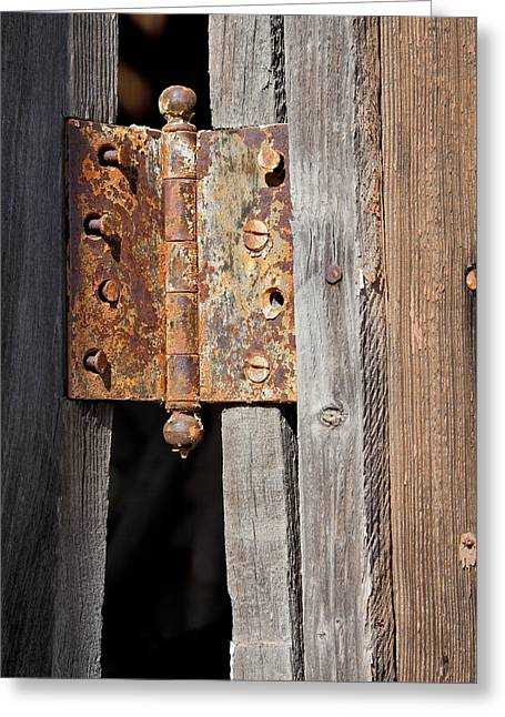 Rusty Nail Greeting Cards - Rusty Hinge Greeting Card by Kelley King