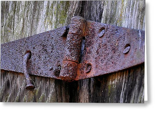 Rusty Nail Greeting Cards - Rusty Hinge Greeting Card by Todd Hostetter