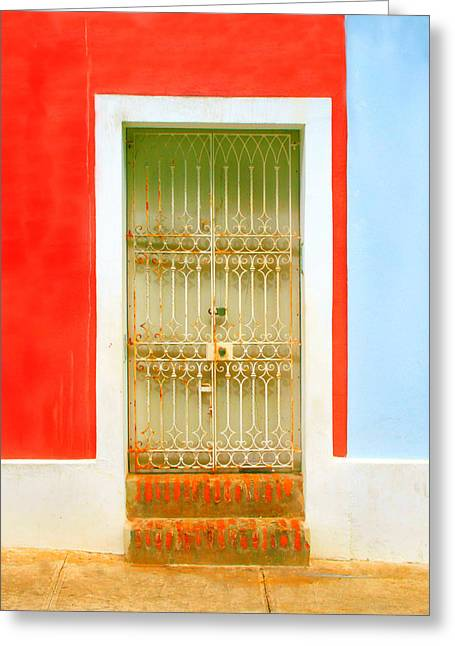 Old San Juan Greeting Cards - Rusty Iron Door Greeting Card by Perry Webster