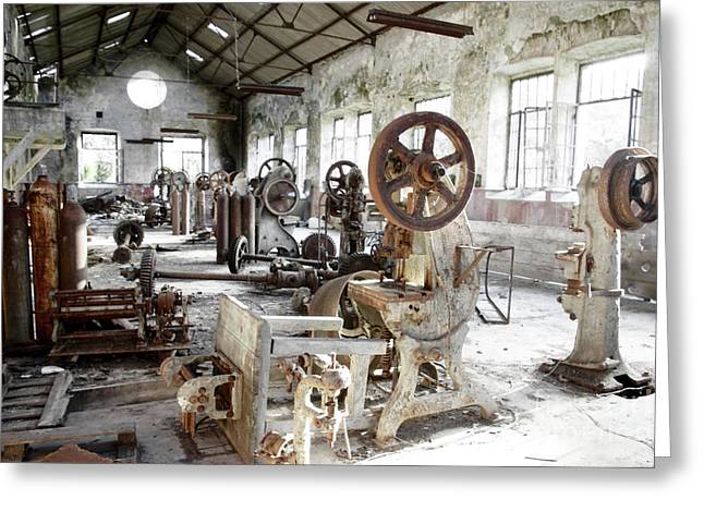 Rusty Machinery Greeting Card by Carlos Caetano