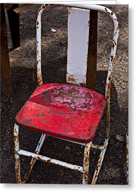 Empty Chairs Photographs Greeting Cards - Rusty Metal Chair Greeting Card by Garry Gay