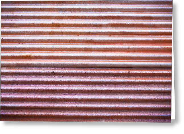 Red Roof Photographs Greeting Cards - Rusty metal Greeting Card by Tom Gowanlock