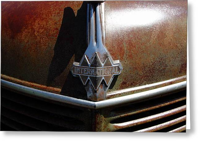 Rusty Old 1935 International Truck Hood Ornament. 7D15503 Greeting Card by Wingsdomain Art and Photography