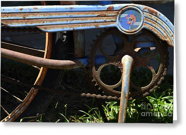 Sprockets Greeting Cards - Rusty Old Bicycle . 7D15946 Greeting Card by Wingsdomain Art and Photography