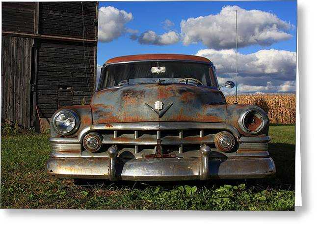 Cornfield Greeting Cards - Rusty Old Cadillac Greeting Card by Lyle Hatch
