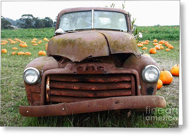 Rusty Old Gmc Truck At The Pumpkin Patch . 7d8395 Greeting Card by Wingsdomain Art and Photography