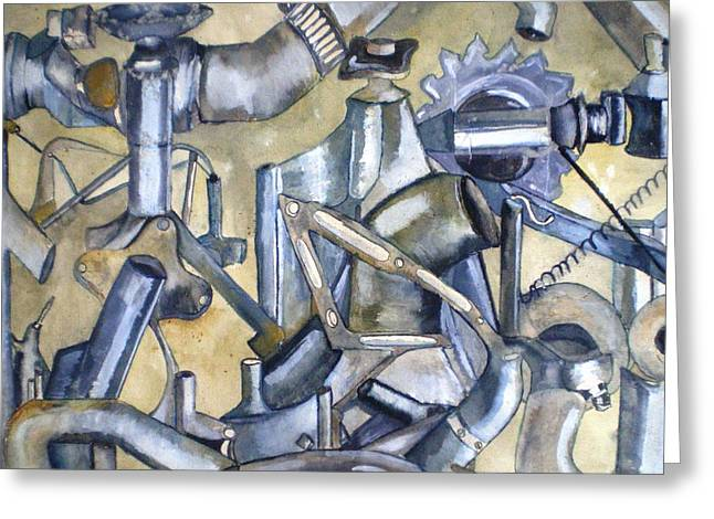Car Part Paintings Greeting Cards - Rusty Parts Greeting Card by Bernadine  Roos