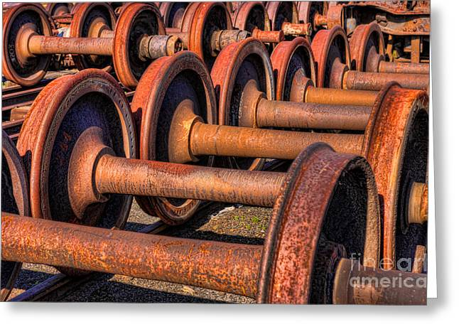 Axels Greeting Cards - Rusty Railroad Car Wheelsets Greeting Card by Clarence Holmes