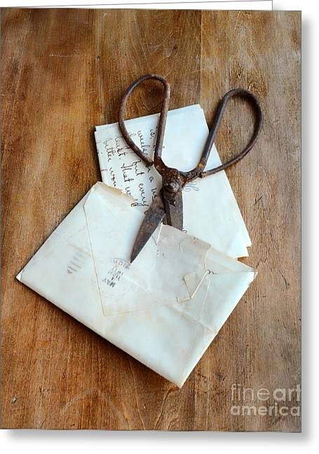 Love Letter Greeting Cards - Rusty Scissors with Letter  Greeting Card by Jill Battaglia